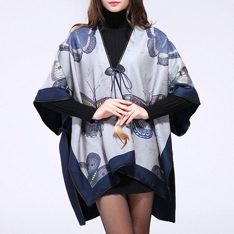 Stylish Women's Feather Pendant Big Butterfly Print Batwing Loose Poncho Cape - LIGHT GRAY ONE SIZE(FIT SIZE L TO 3XL)