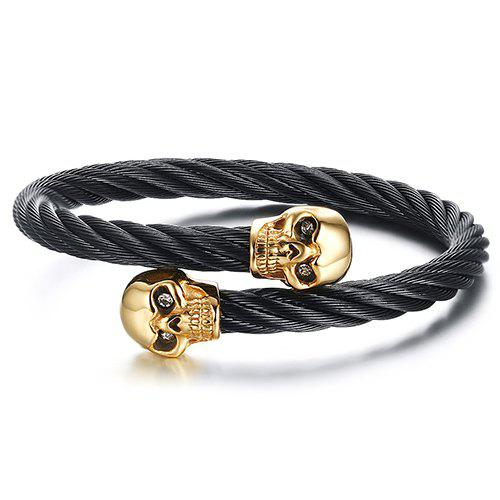Punk Carving Skulls Cuff Bracelet For Men - BLACK/GOLDEN