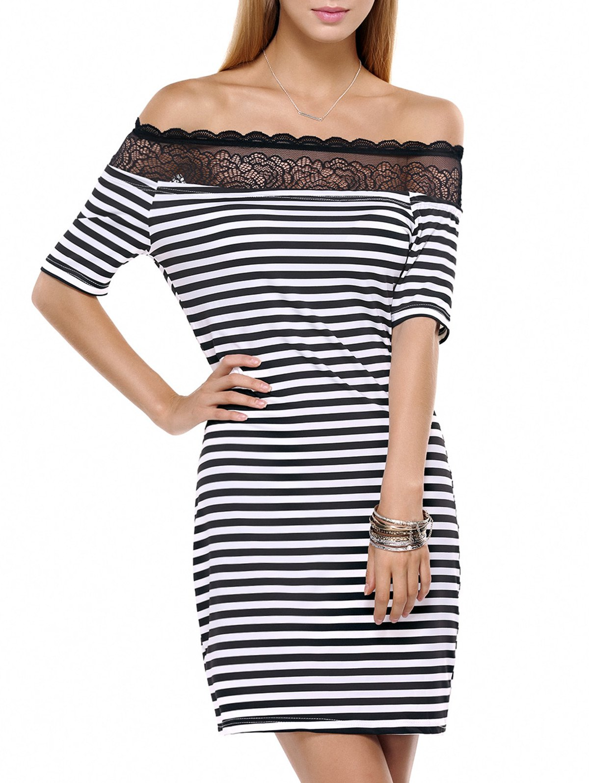 Striped Lace Splicing Off The Shoulder Dress - WHITE/BLACK L