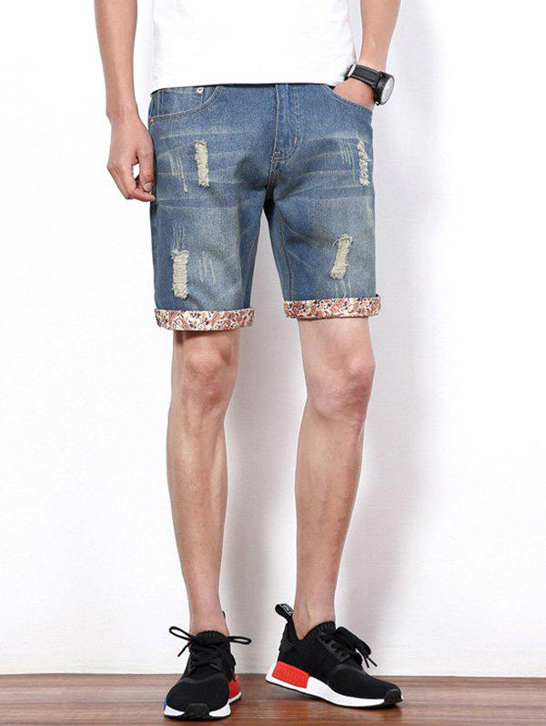 Men's Hole Design Straight Leg Cropped Shorts - BLUE 36