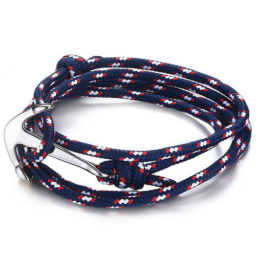 Simple Anchor Layered Rope Wrap Bracelet For Men