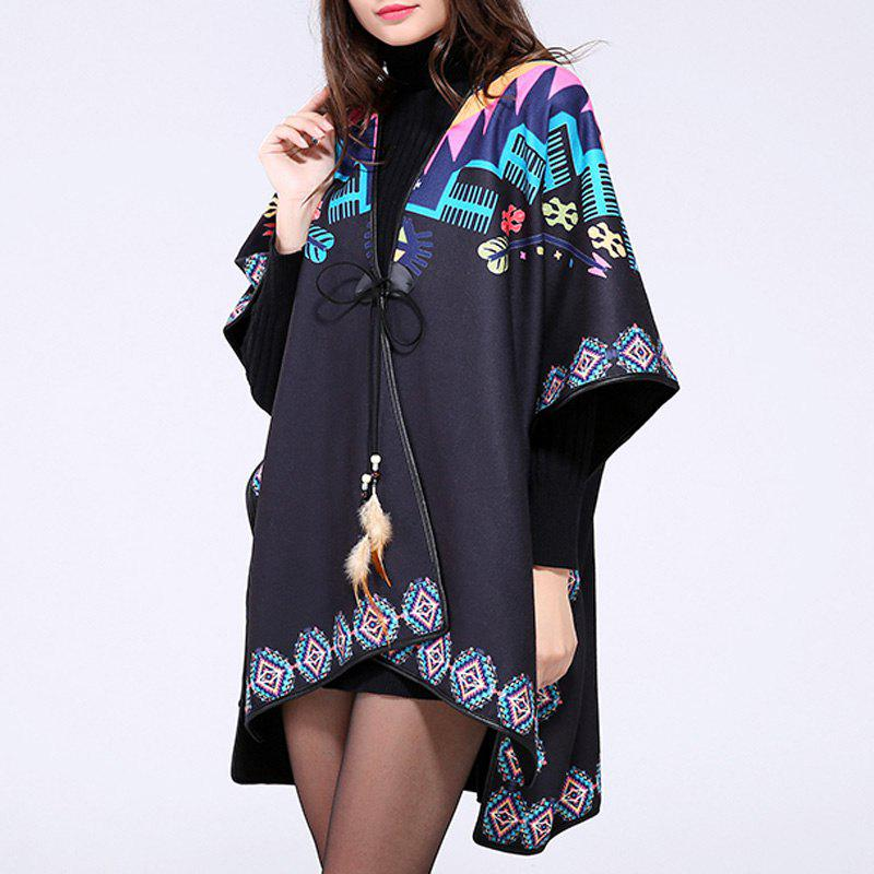 Bohemian Women's Feather Pendant Colorful Geometry Print Batwing Loose Poncho Cape - BLACK ONE SIZE(FIT SIZE L TO 3XL)