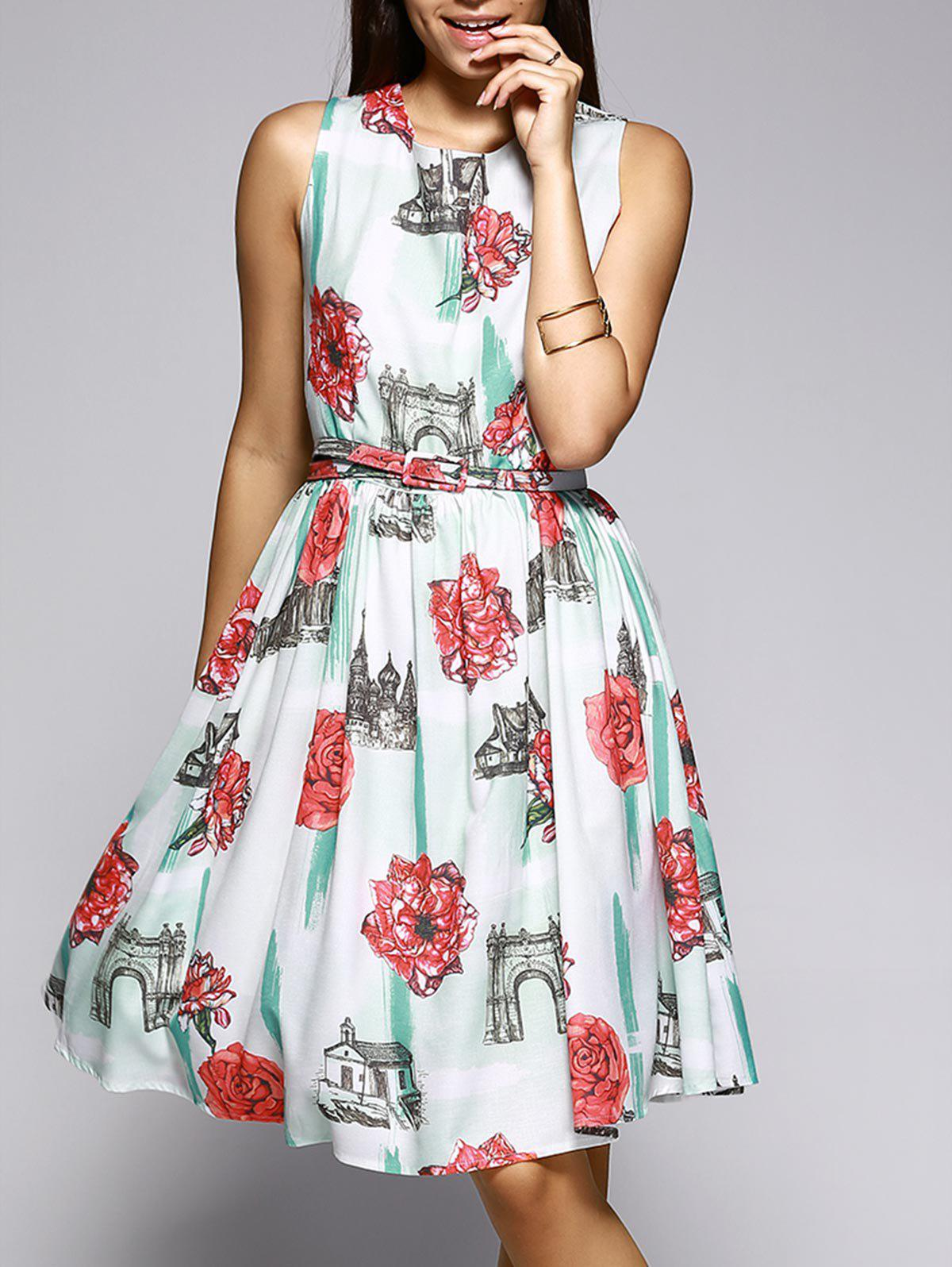 Sleeveless Castle and Flower Pattern Dress - COLORMIX L
