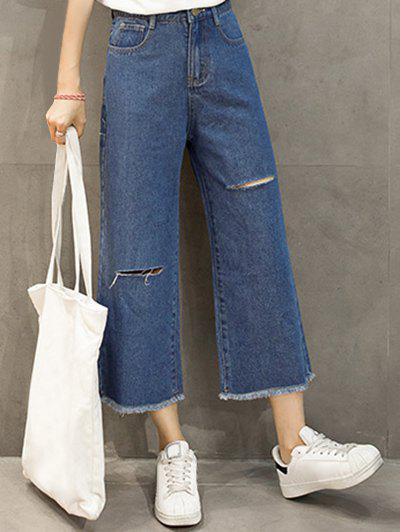 Frayed Wide Leg Ankle Scrub Jeans - DEEP BLUE S