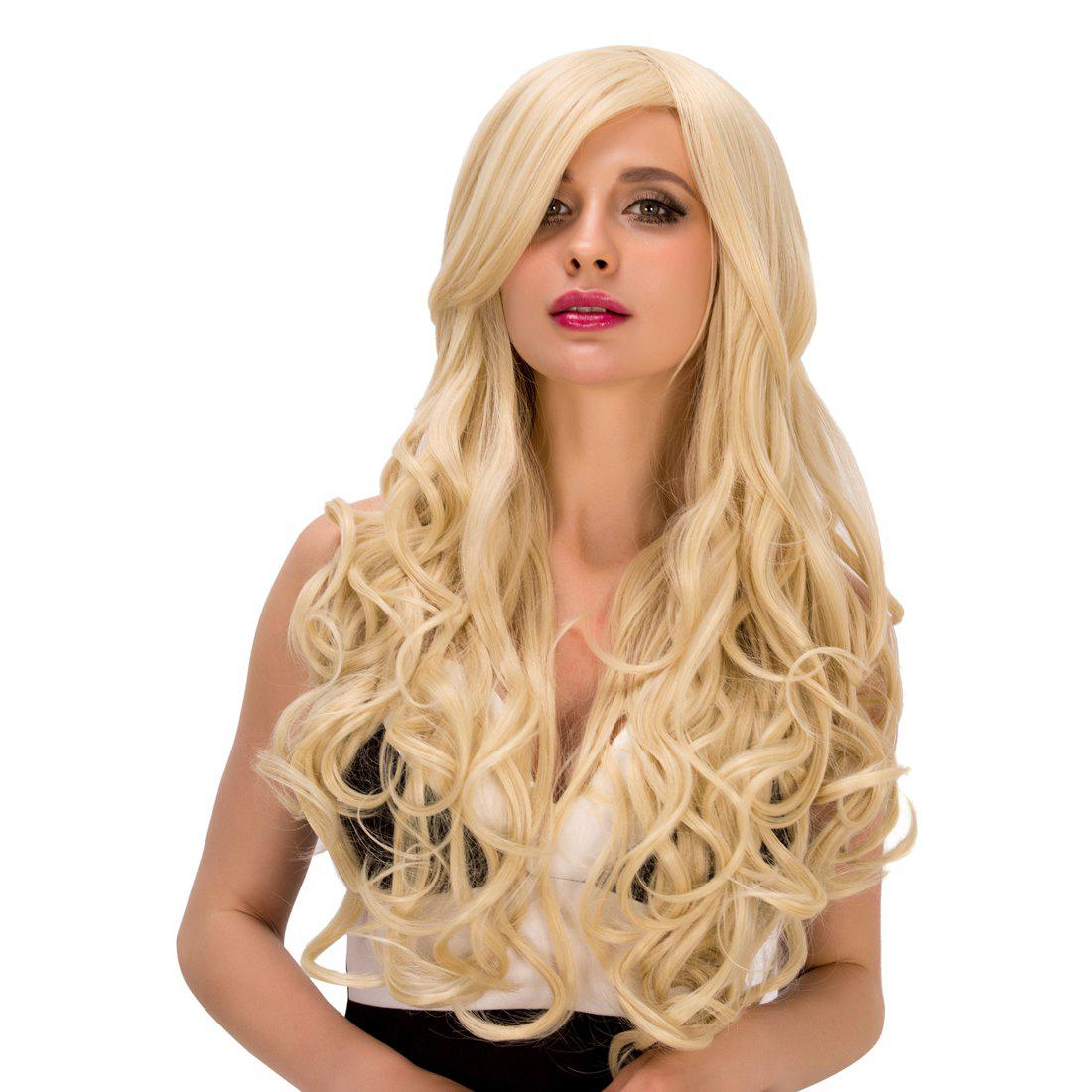 Fluffy Wave Light Blonde Synthetic Charming Long Side Bang Capless Wig For Women - LIGHT GOLD