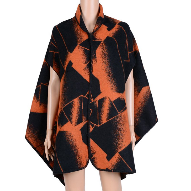 Stylish Open Front Geometry Pattern Batwing Winter Loose Cloak Women's Poncho Cape - ORANGE ONE SIZE(FIT SIZE L TO 3XL)