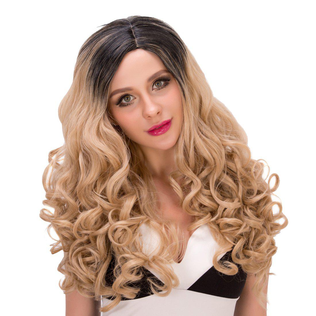 Vogue Women's Long Curly Side Parting Mixed Color Synthetic Hair Wig - COLORMIX