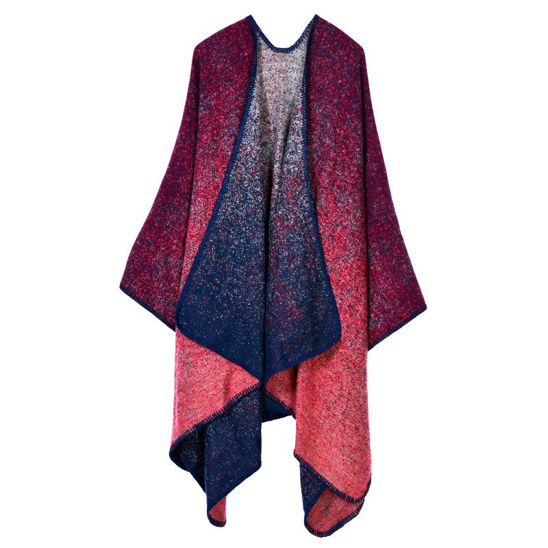 Stylish Open Front Starry Sky Pattern Oversized Shawl Wrap Blanket Women's Poncho Cape - RED ONE SIZE(FIT SIZE L TO 3XL)