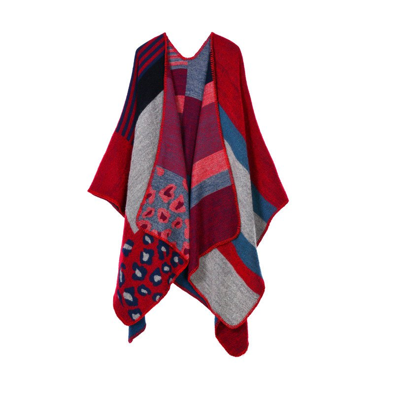 Stylish Open Front Leopard Patchwork Stripe Oversized Shawl Wrap Blanket Women's Poncho Cape - RED ONE SIZE(FIT SIZE L TO 3XL)