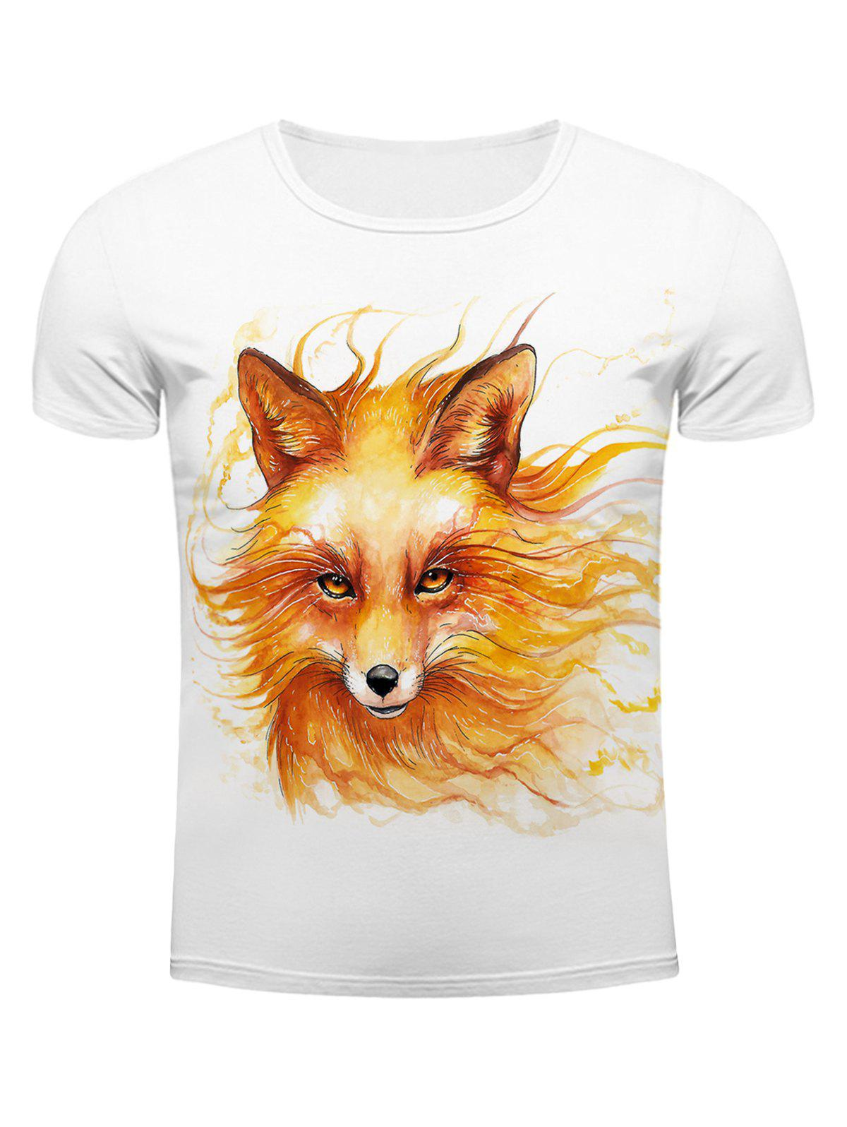 White Round Neck Cool Wolf Head Pattern Slimming Men's Short Sleeves 3D T-Shirt - WHITE 2XL
