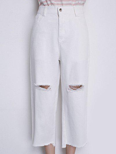 Casual Women's High Waisted Wide Leg Frayed Jeans - OFF WHITE M