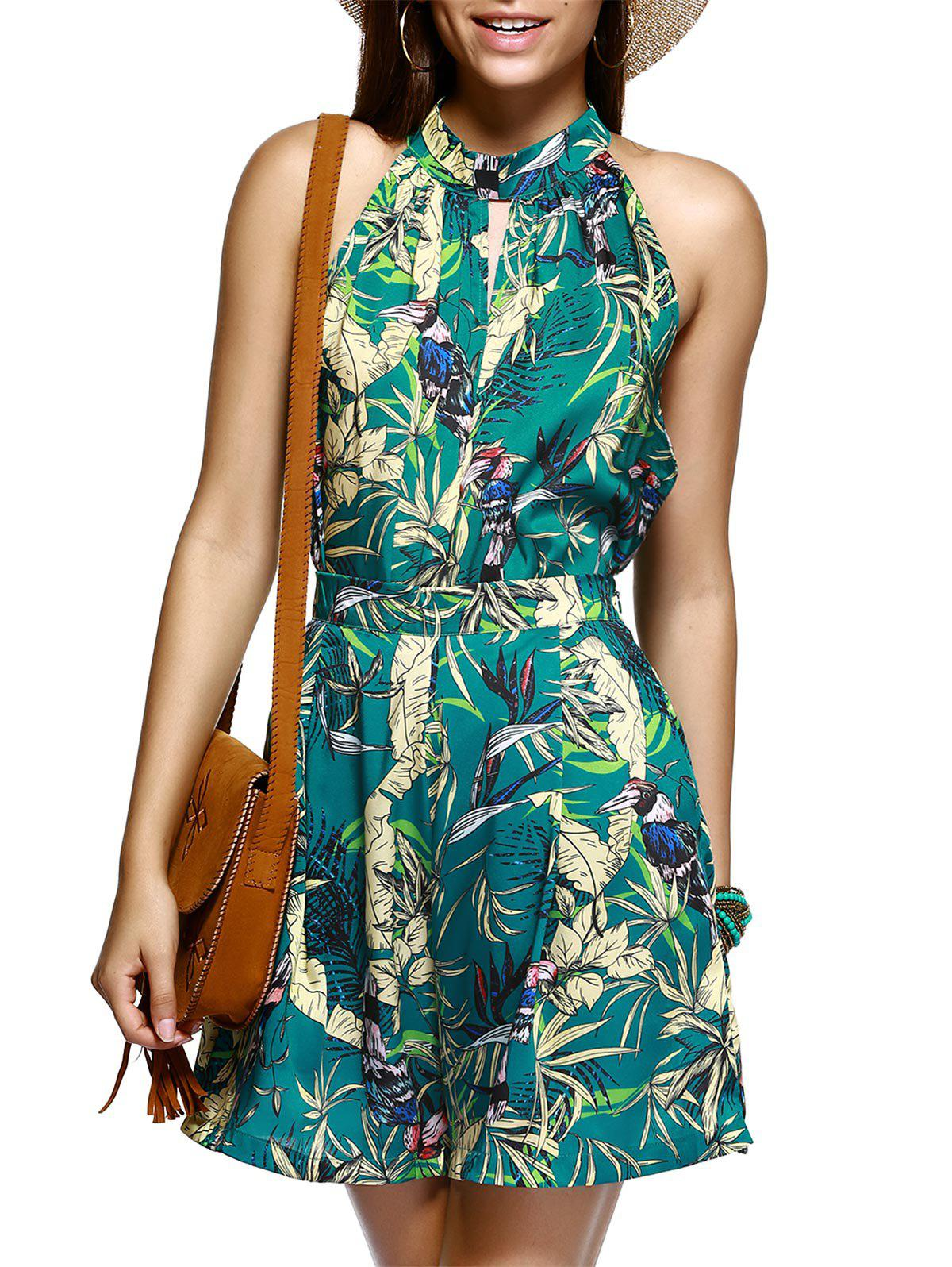 Alluring Sleeveless Plant Print Top and Wide Leg Shorts Women's Twinset - GREEN XL