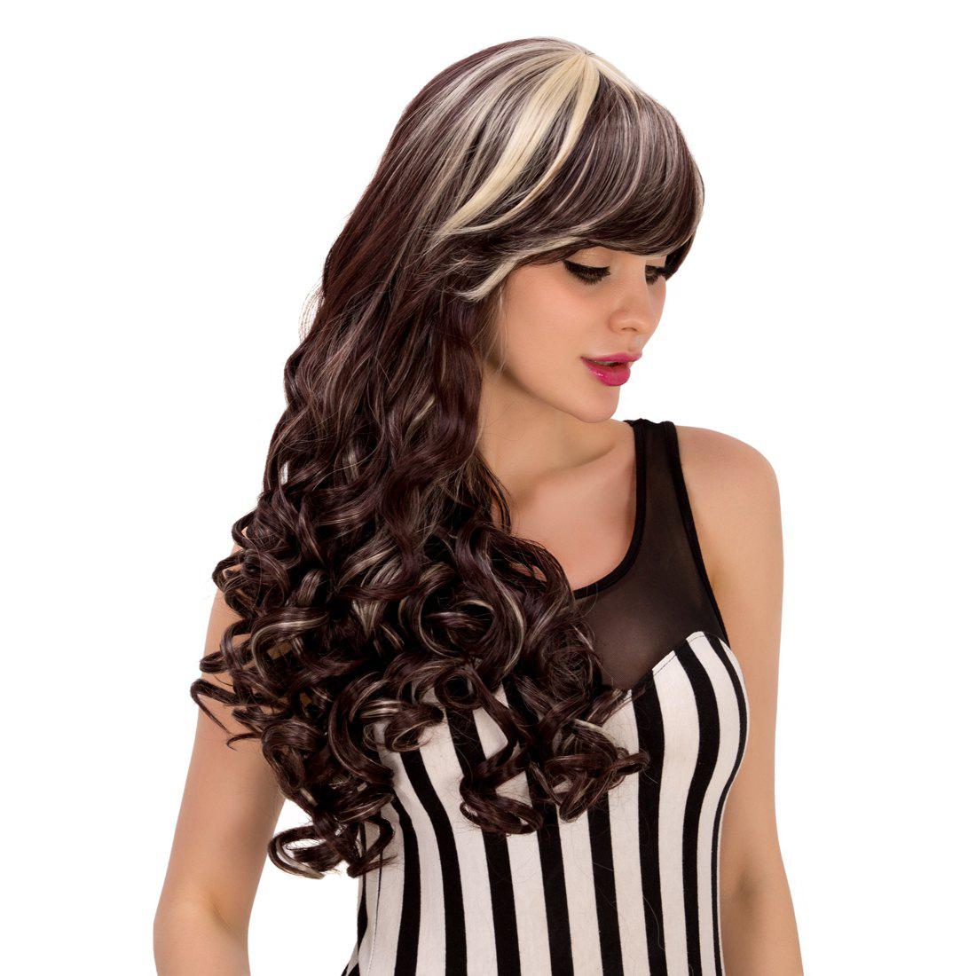 Attractive Blonde Highlight Synthetic Fluffy Wave Side Bang Women's Wig 1pc blonde highlight color part wig