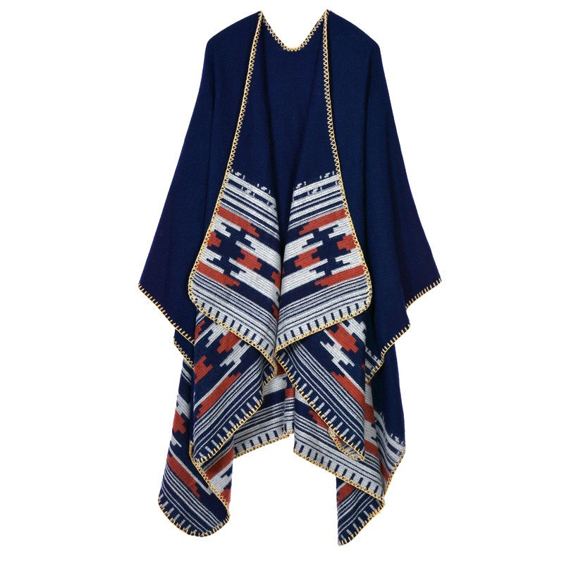 Stylish Open Front Printed Hemming Oversized Shawl Wrap Blanket Women's Poncho Cape - PURPLISH BLUE ONE SIZE(FIT SIZE L TO 3XL)