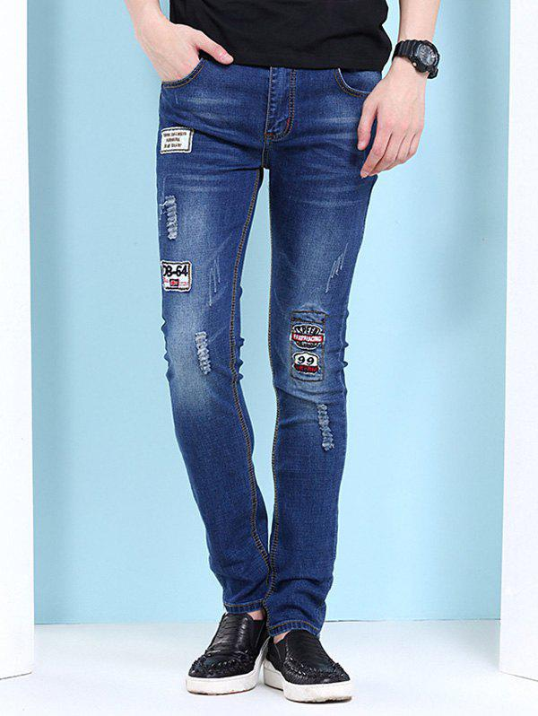 Mens Hole Design Embroidery Embellishment JeansMen<br><br><br>Size: 33<br>Color: DEEP BLUE