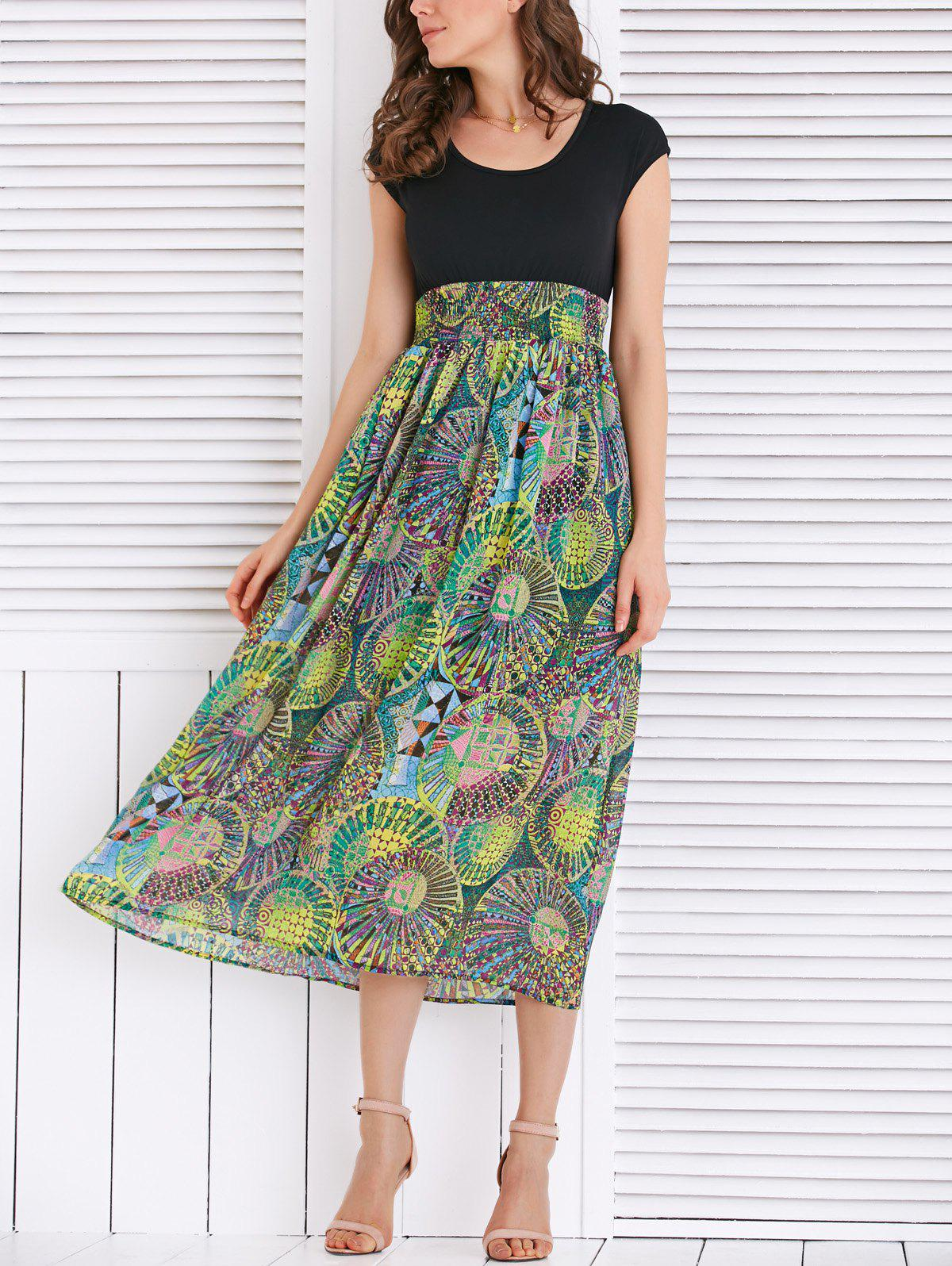 High Waist Geometrical Print Dress - BLACK/GREEN L