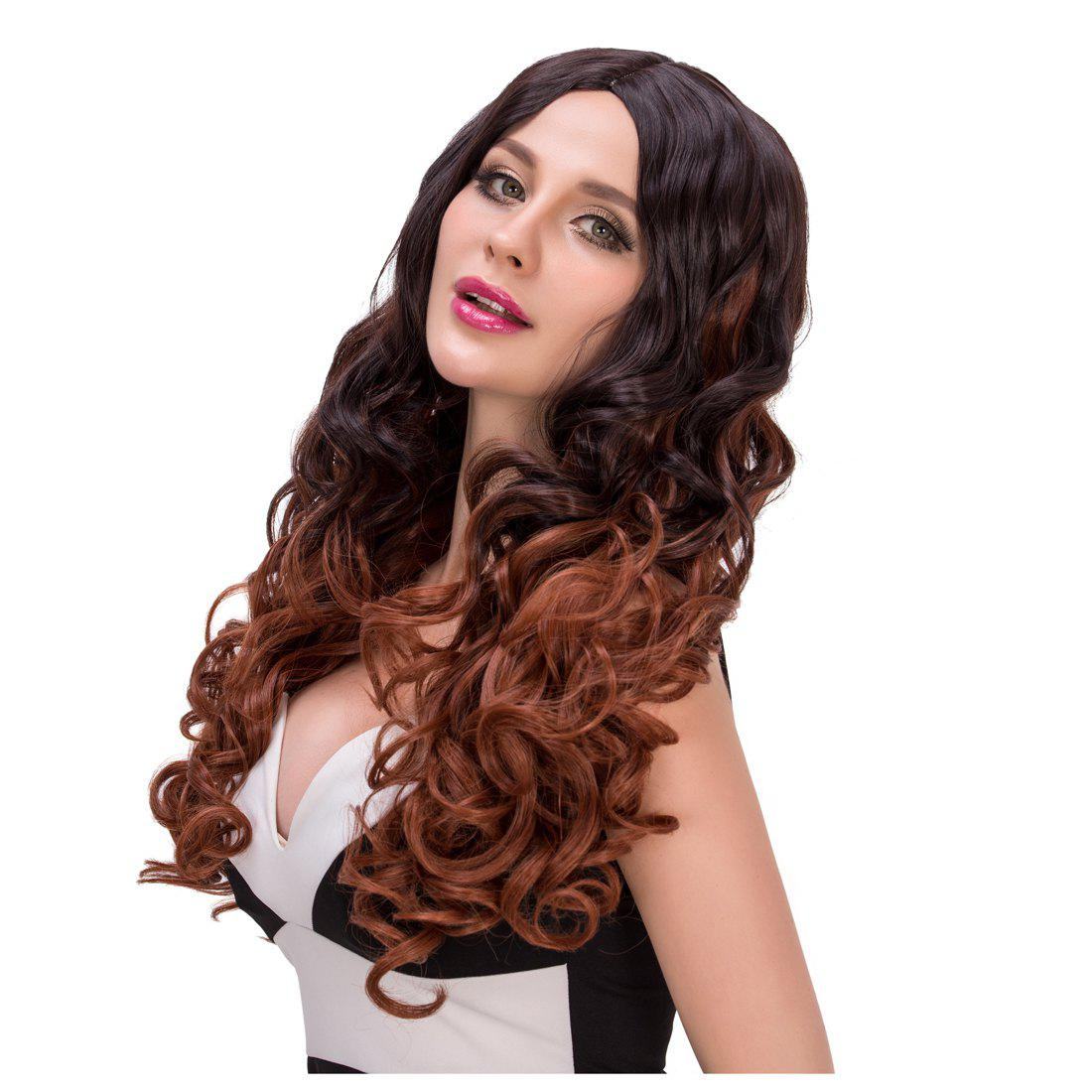 Stylish Women's Long Curly Middle Part Mixed Color Synthetic Hair Wig