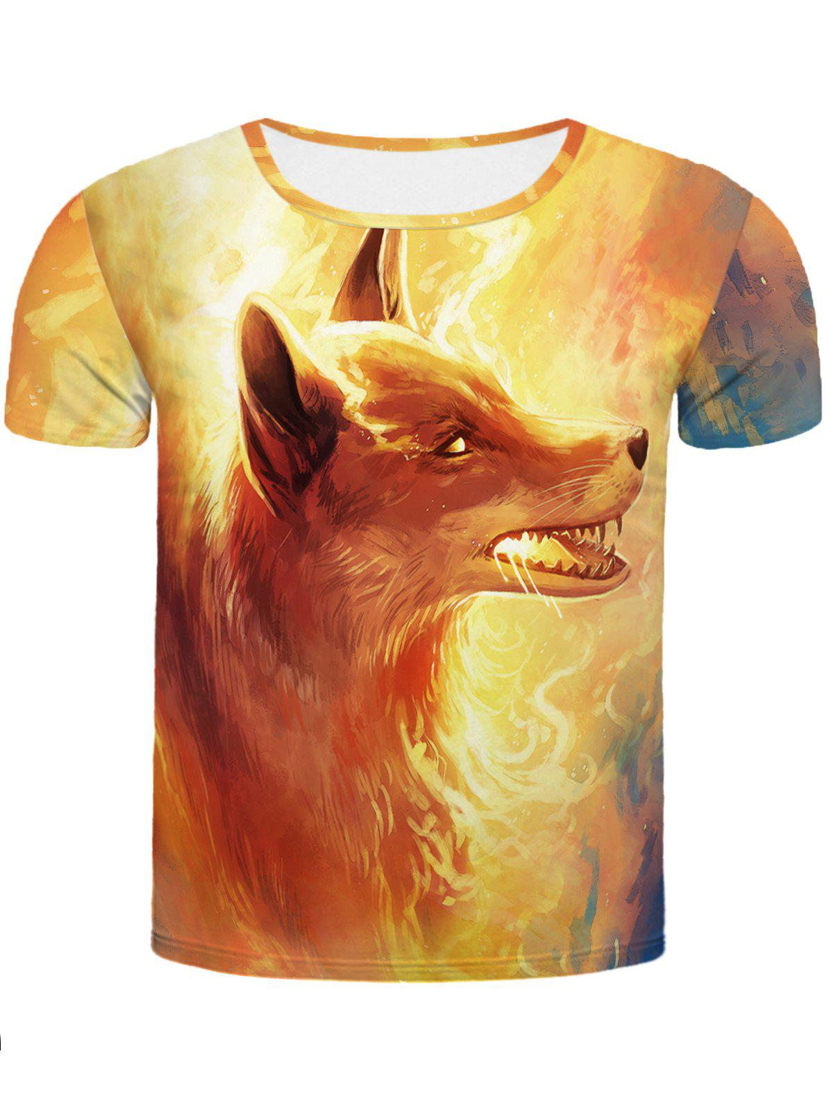 Cool Fire Fox 3D Printed Slimming Men's Round Neck Short Sleeves T-Shirt - COLORMIX 2XL