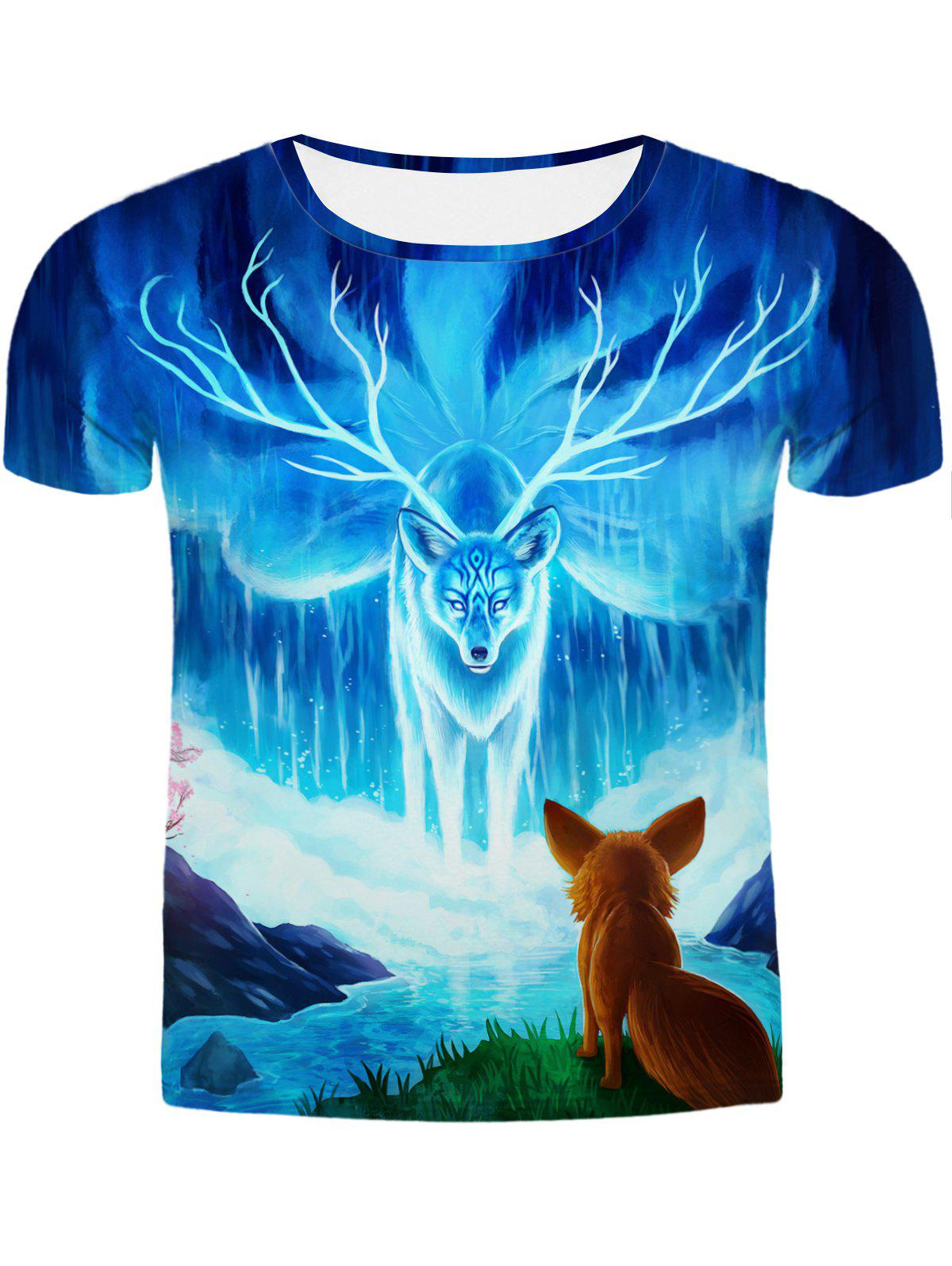 Hot Sale Round Neck 3D Animal Printing Slimming Men's Short Sleeves T-Shirt - COLORMIX 2XL