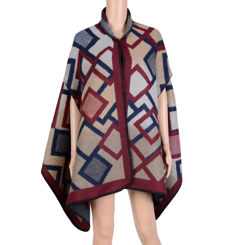 Stylish Square Photo Frame Pattern Oversized Shawl Wrap Blanket Women's Poncho Cape - WINE RED ONE SIZE(FIT SIZE L TO 3XL)