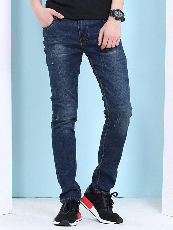 Men's Cat's Whisker Print Zipper Fly Jeans - BLUE/BLACK 34
