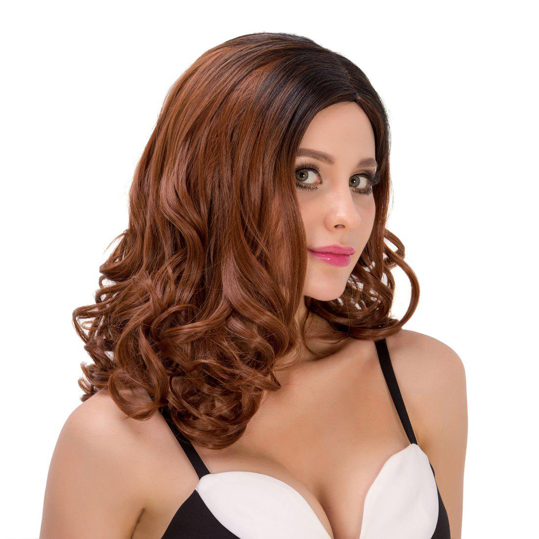 Stunning Side Parting Mixed Color Women's Medium Curly Synthetic Hair Wig