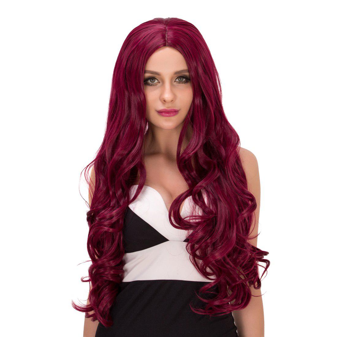 Fashion Women's Long Wavy Middle Part Purplish Red Synthetic Hair Wig