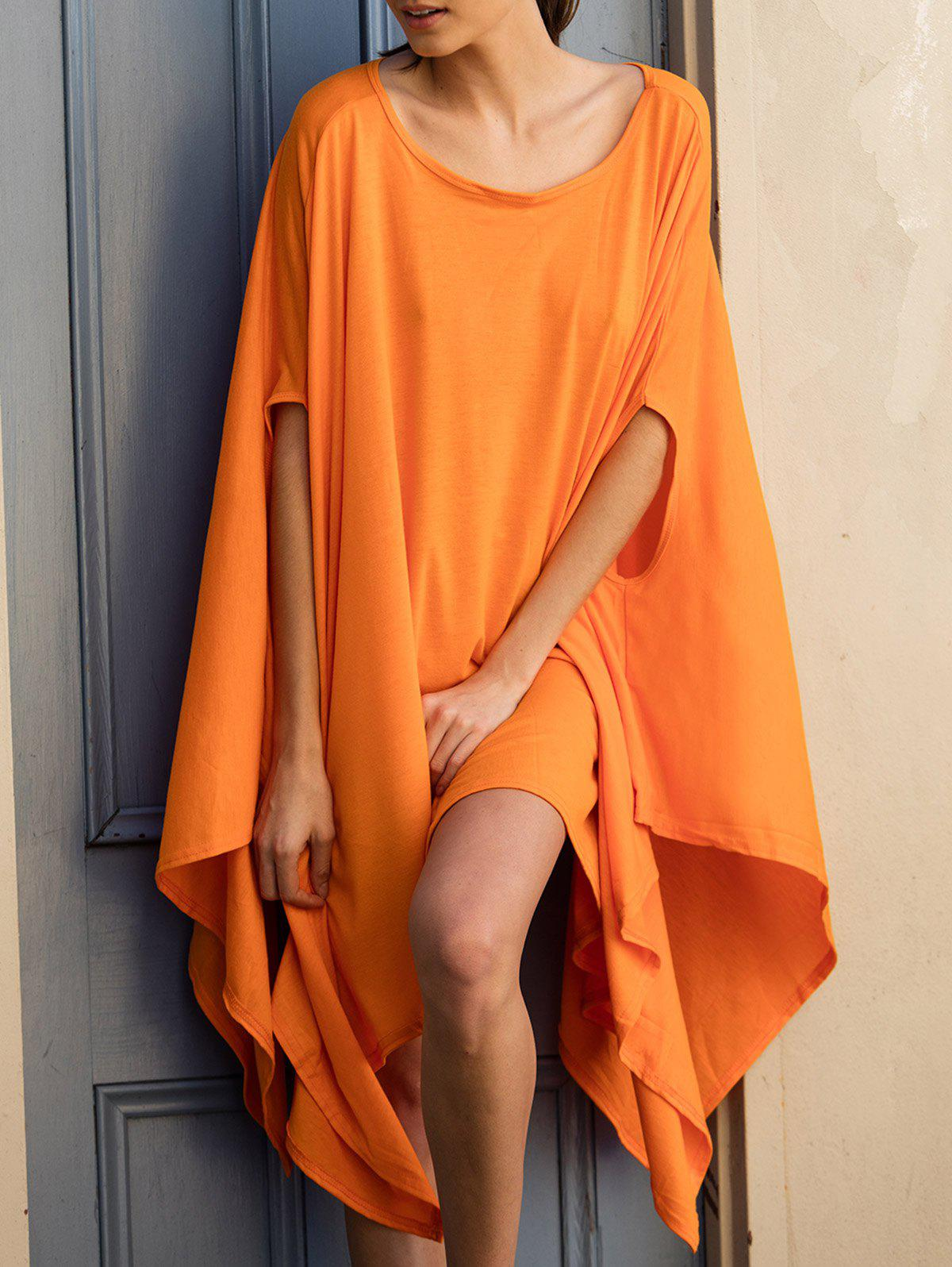 Charming Pure Color Batwing Sleeve Asymmetric Tops For Women - ORANGE S