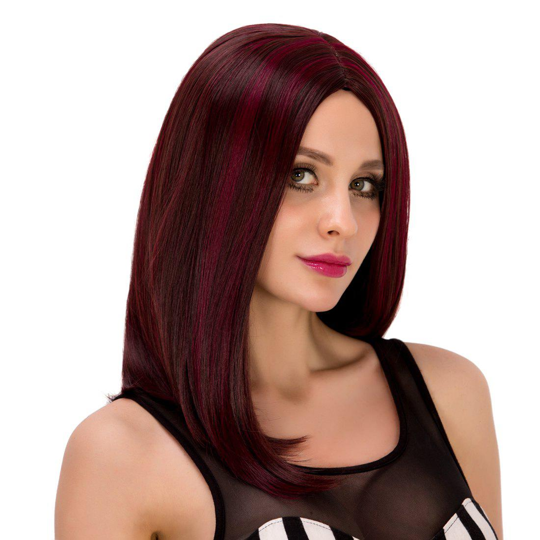 Stunning Middle Part Straight Tail Adduction Wine Red Highlight Synthetic Wig For Women