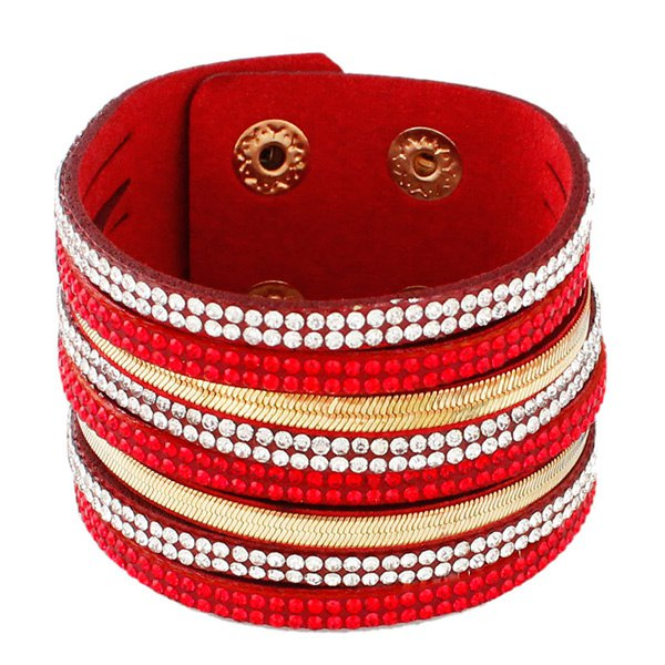 Faux Leather Layered Rhinestone Bracelet - RED