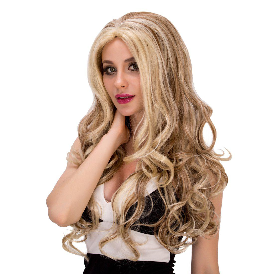Fashion Women's Long Wavy Mixed Color Synthetic Hair Wig - COLORMIX