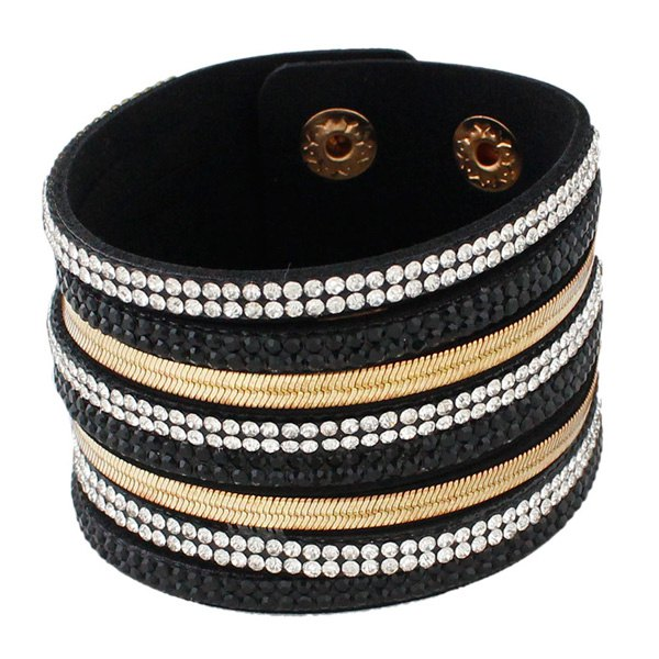 Faux Leather Layered Rhinestoned Wrap Bracelet - BLACK