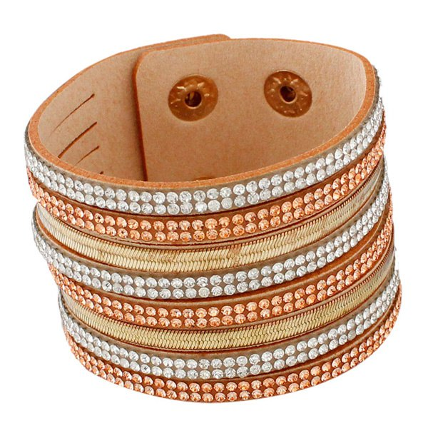 Chic Faux Leather Layered Rhinestoned Bracelet Jewelry For Women