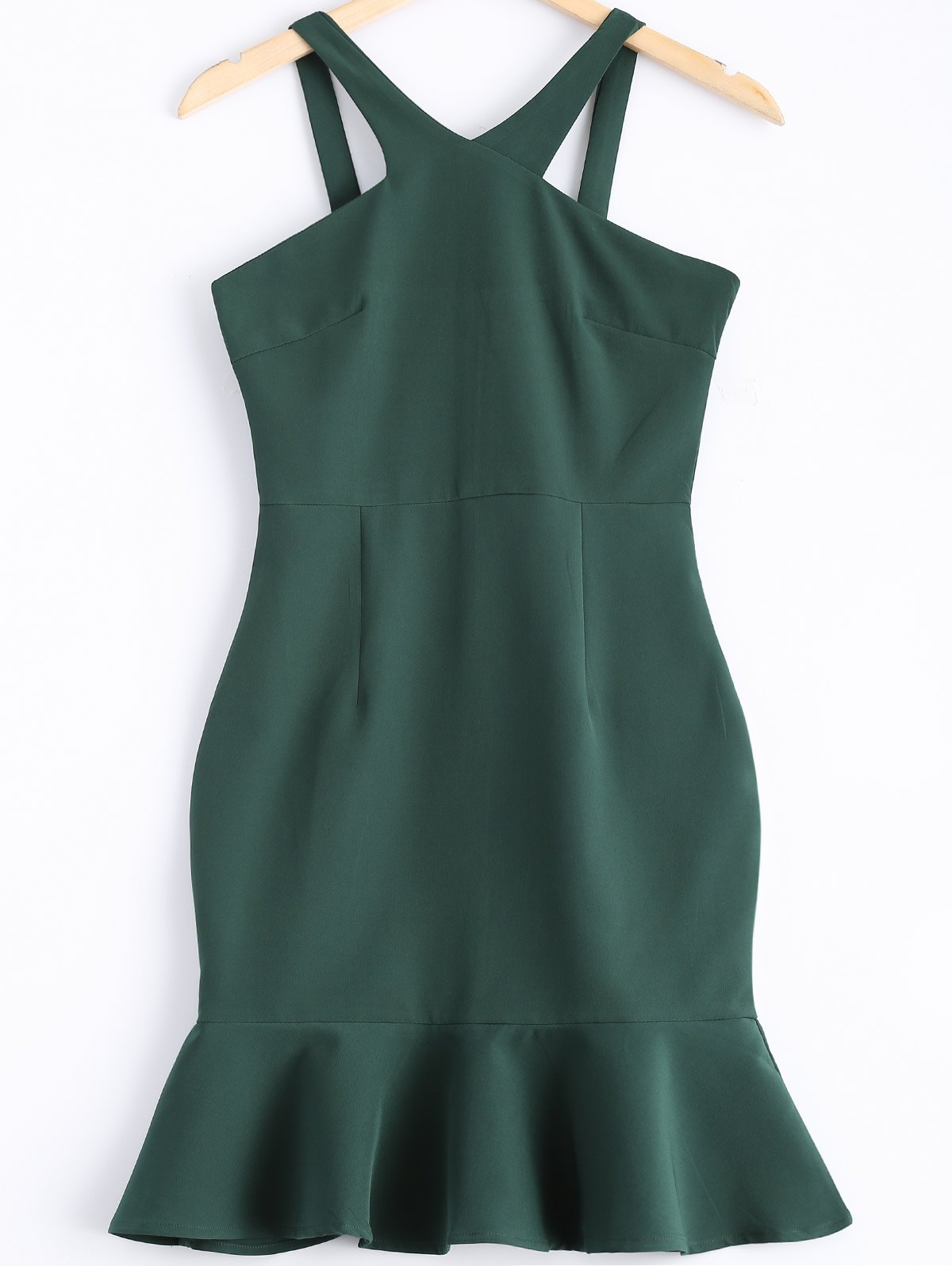 Sophisticated Women's V-Neck Flounce Dress - BLACKISH GREEN M