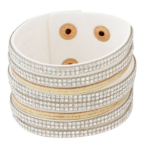 Faux Leather Layered Rhinestone Bracelet - WHITE