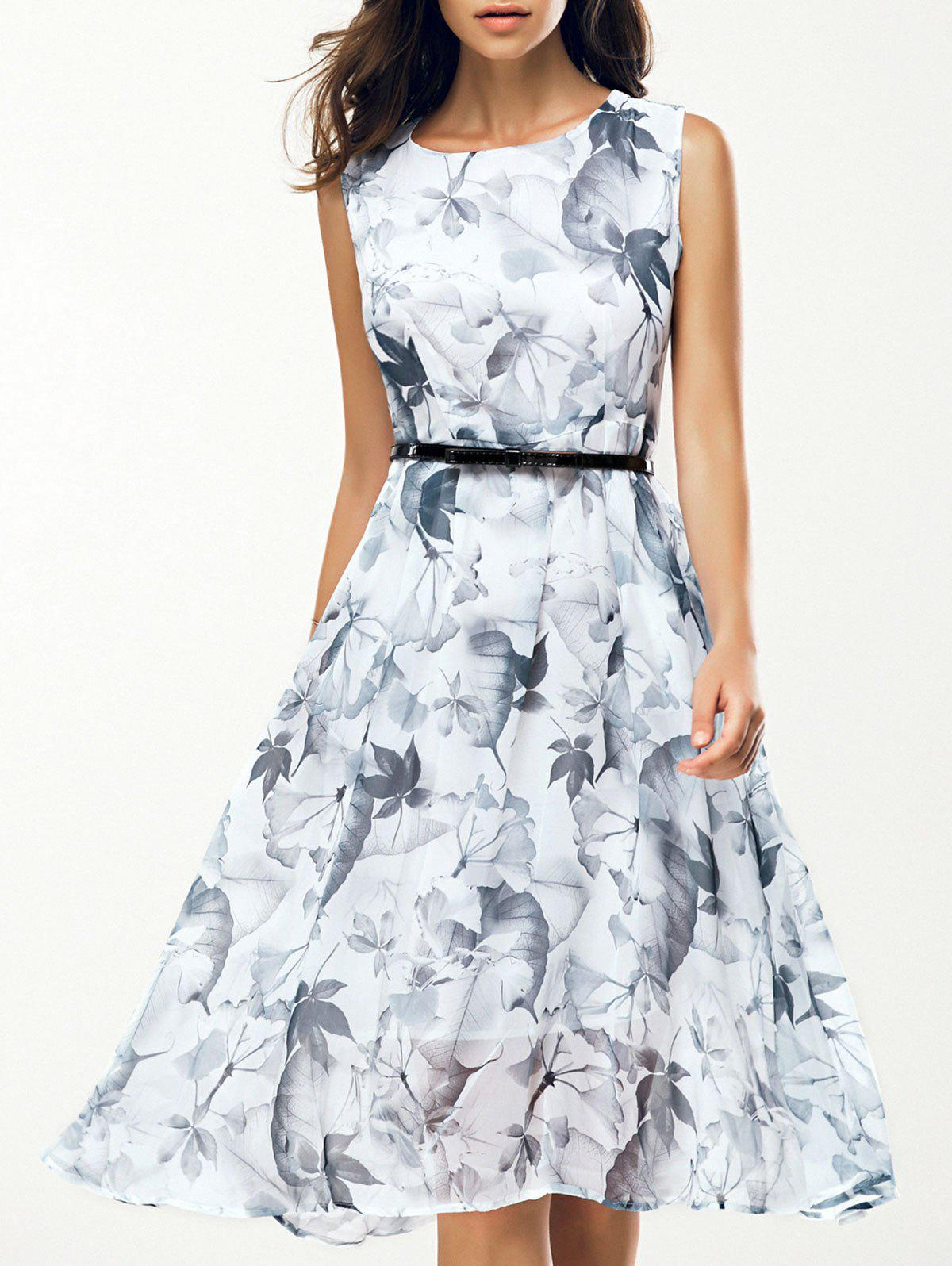Jewel Neck Sleeveless Floral Print A Line Belted Dress - WHITE 2XL