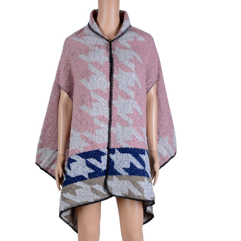 Stylish Big Houndstooth Pattern Oversized Shawl Wrap Cloak Women's Poncho Cape - PINK ONE SIZE(FIT SIZE L TO 3XL)