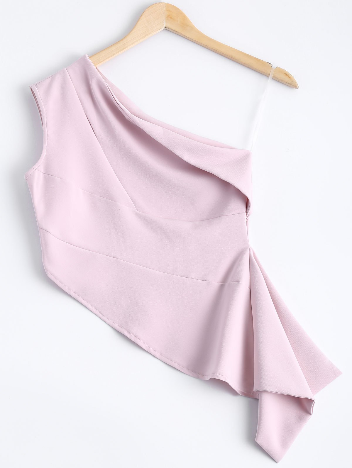 Stylish Women's Solid Color One-Shoulder Asymmetric Top - LIGHT PINK M