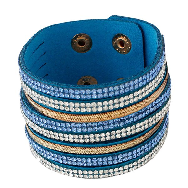 Faux Leather Layered Rhinestoned Bracelet - BLUE