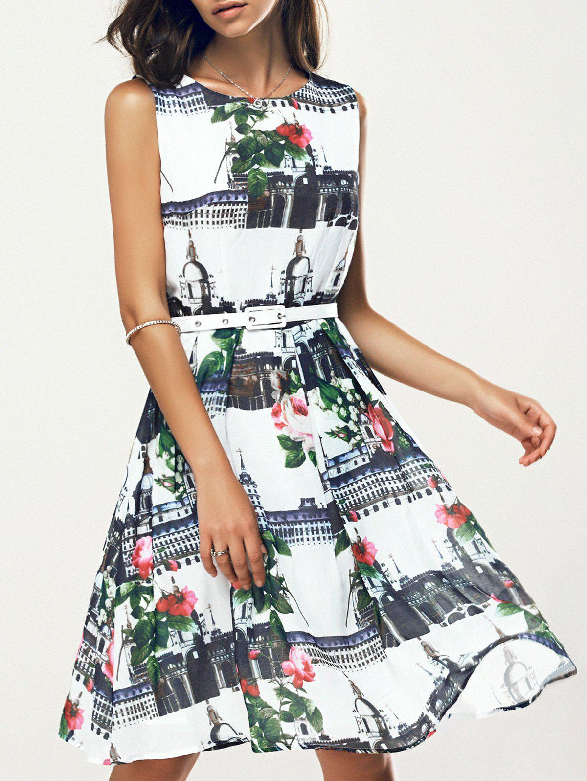 Stunning Jewel Neck Floral Belted Summer Dress For Women - WHITE S