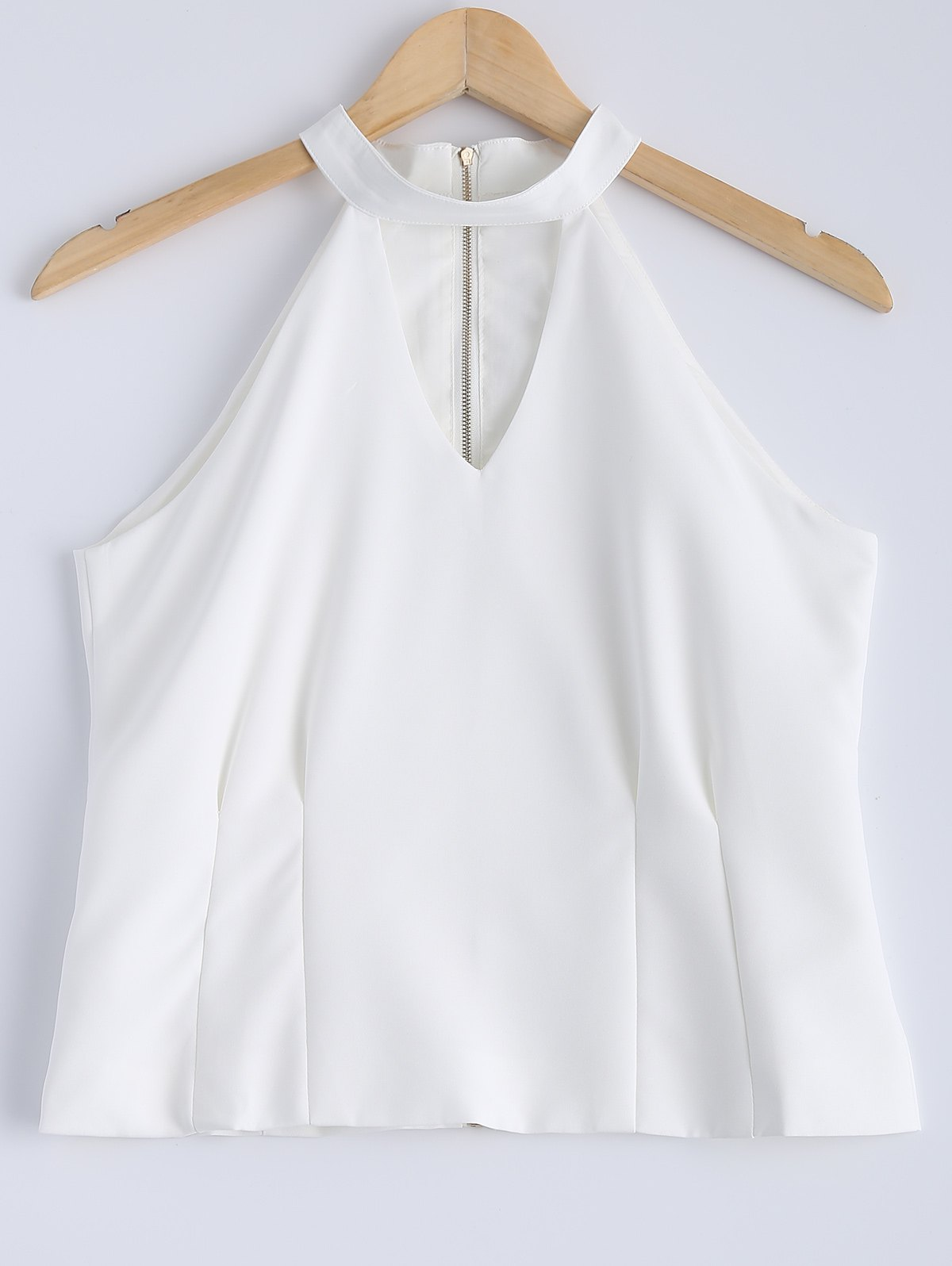 Stylish Women's Solid Color Jewel Neck Cut Out Zipper Fly Sleeveless Top - WHITE M