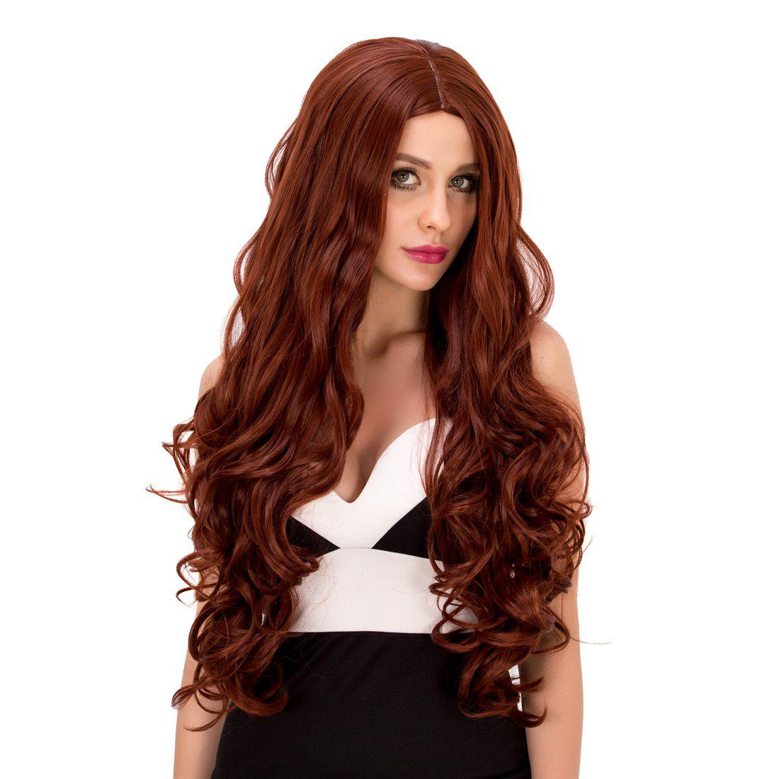 Stylish Women's Long Wavy Middle Part Auburn Brown Synthetic Hair Wig - AUBURN BROWN