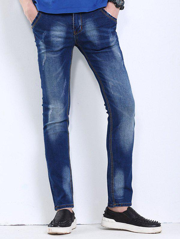 Men's Cat's Whisker Printed Scratch Jeans - DEEP BLUE 34