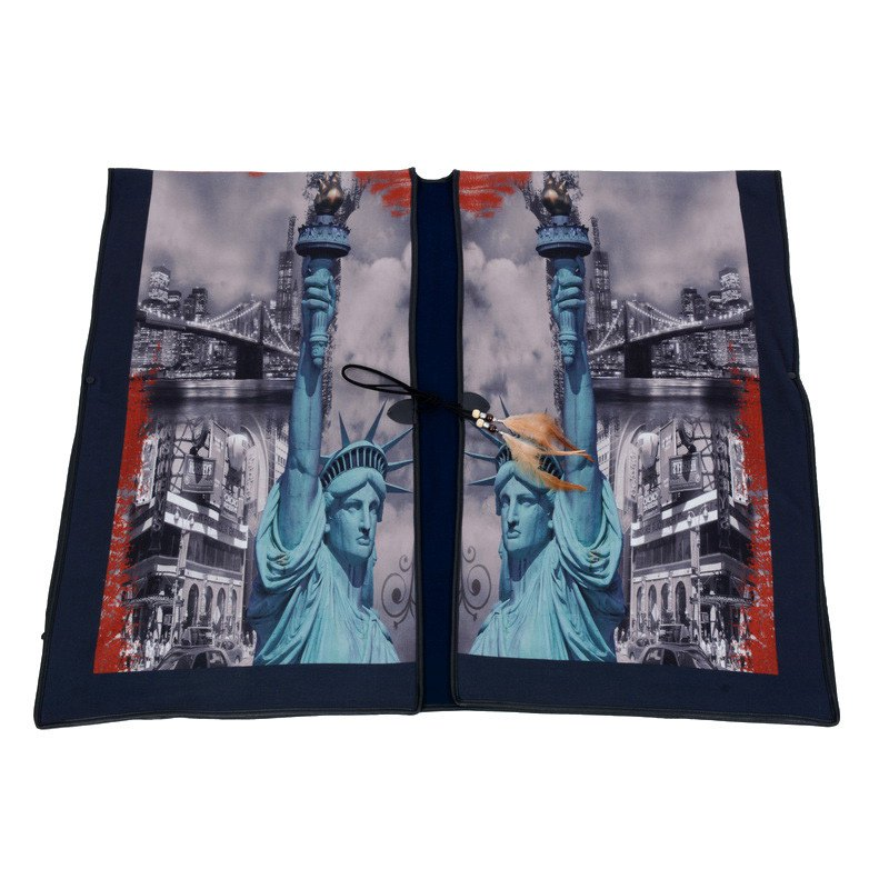 Stylish Liberty Statue Buildings Pattern Feather Pendant Loose Cloak Women's Poncho Cape - GRAY ONE SIZE(FIT SIZE L TO 3XL)