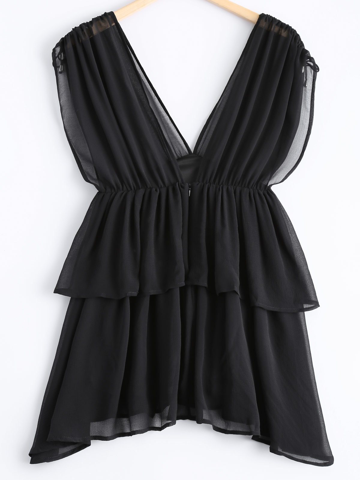 Casual Women's Plunging Neck Multi-layered Knot Cap Sleeves Chiffon Blouse - BLACK M