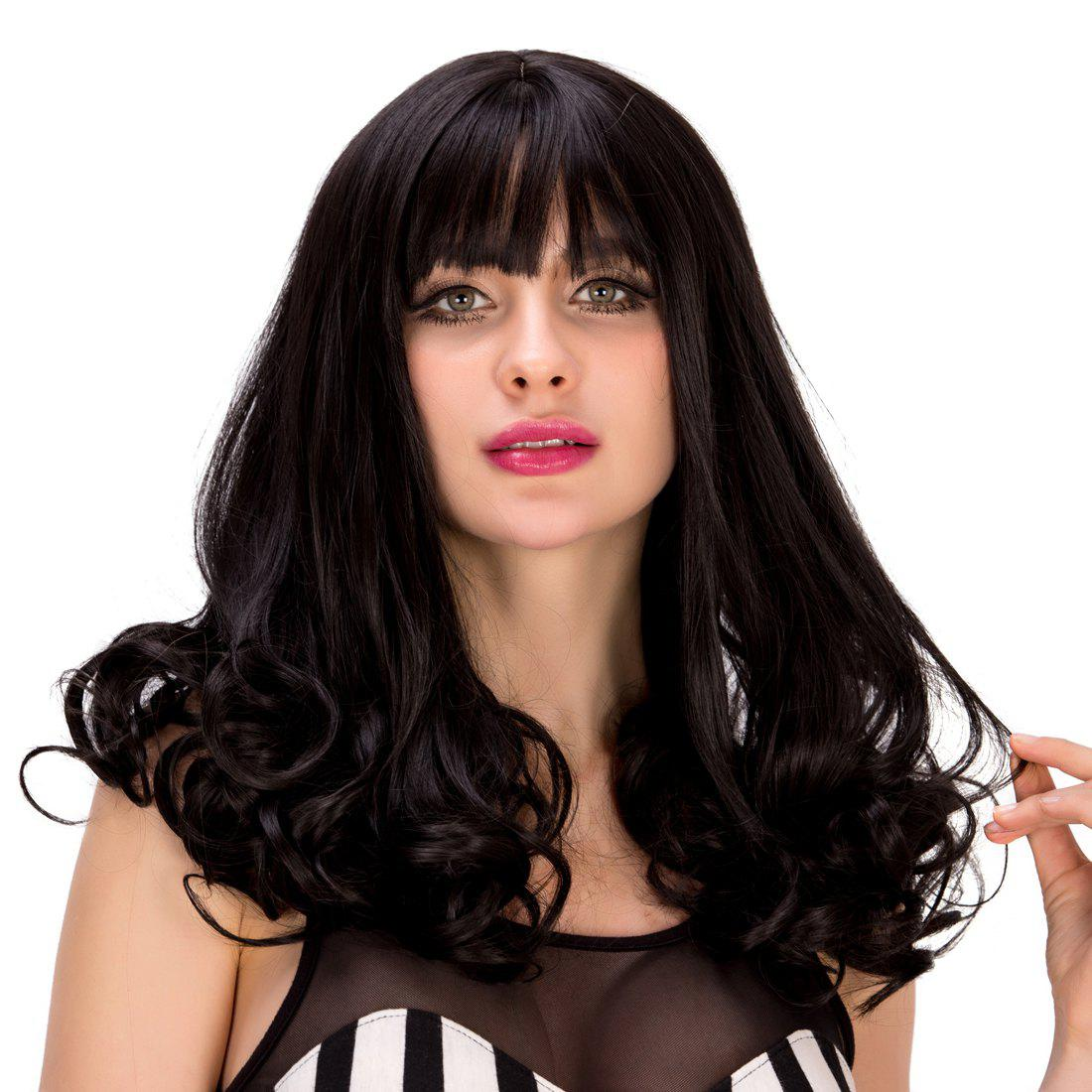 Sweet Full Bang Black Synthetic Fluffy Wave Women's Capless Wig - BLACK