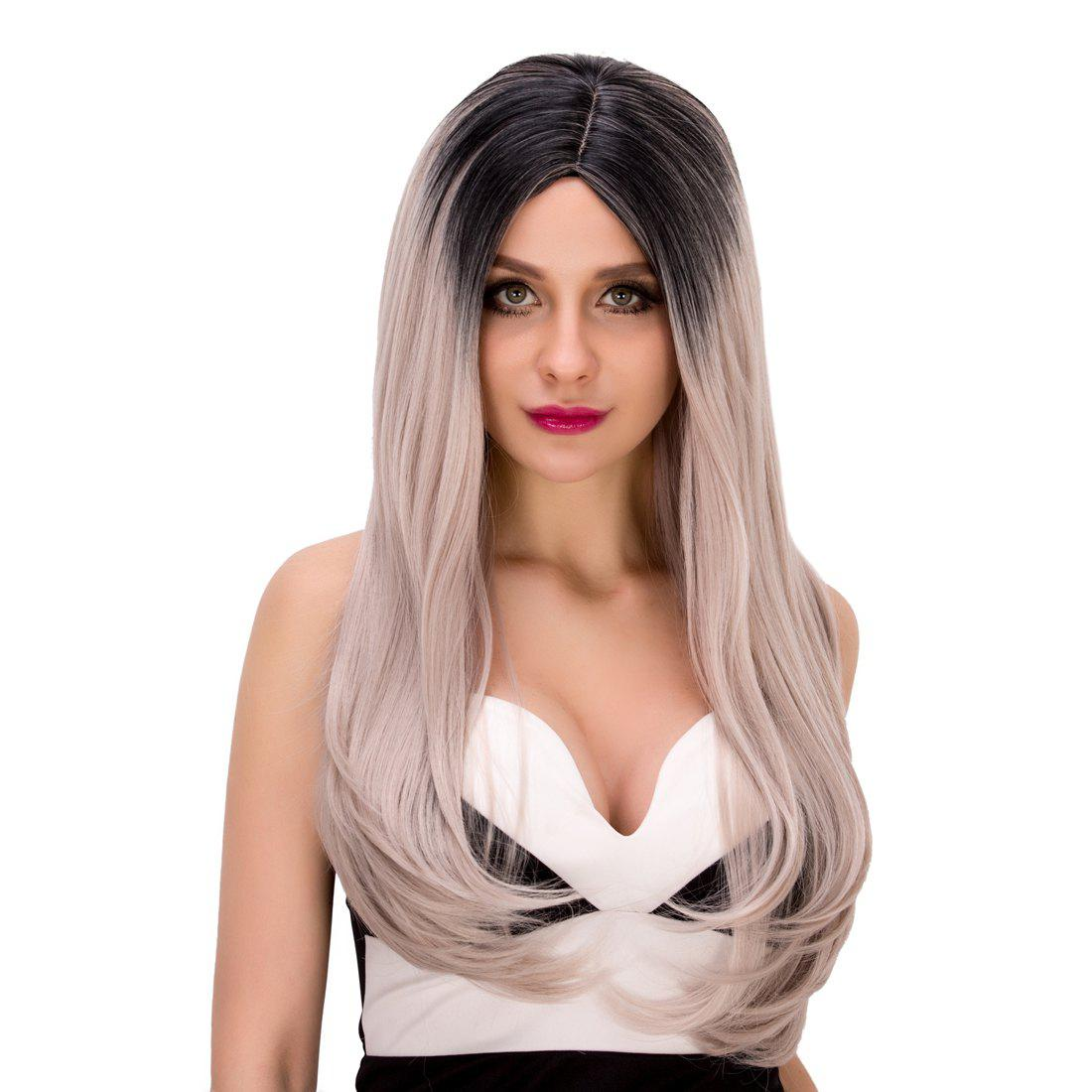 Fashion Women's Long Tail Adduction Centre Parting Mixed Color Synthetic Hair Wig - BLACK/GREY