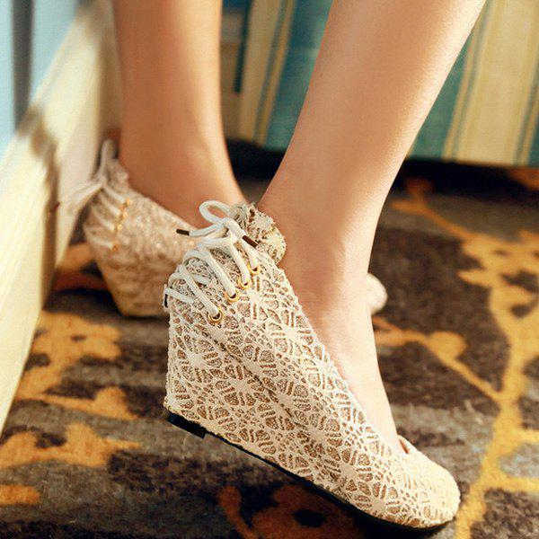Trendy Lace-Up and Lace Design Women's Wedge Shoes - GOLDEN 37