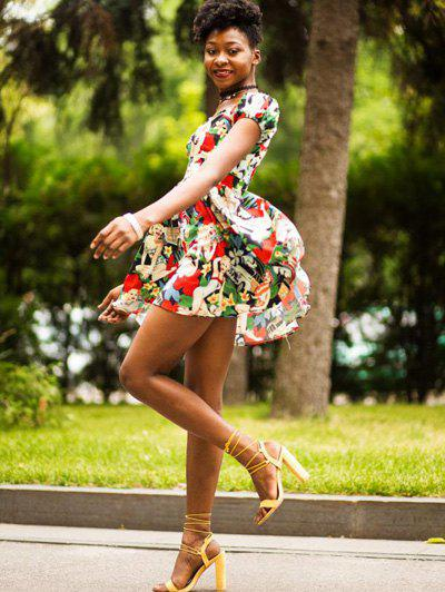Retro Style Sweetheart Neck Short Sleeve Floral and Figure Printed High Waist Women's Mini Dress - COLORMIX XL