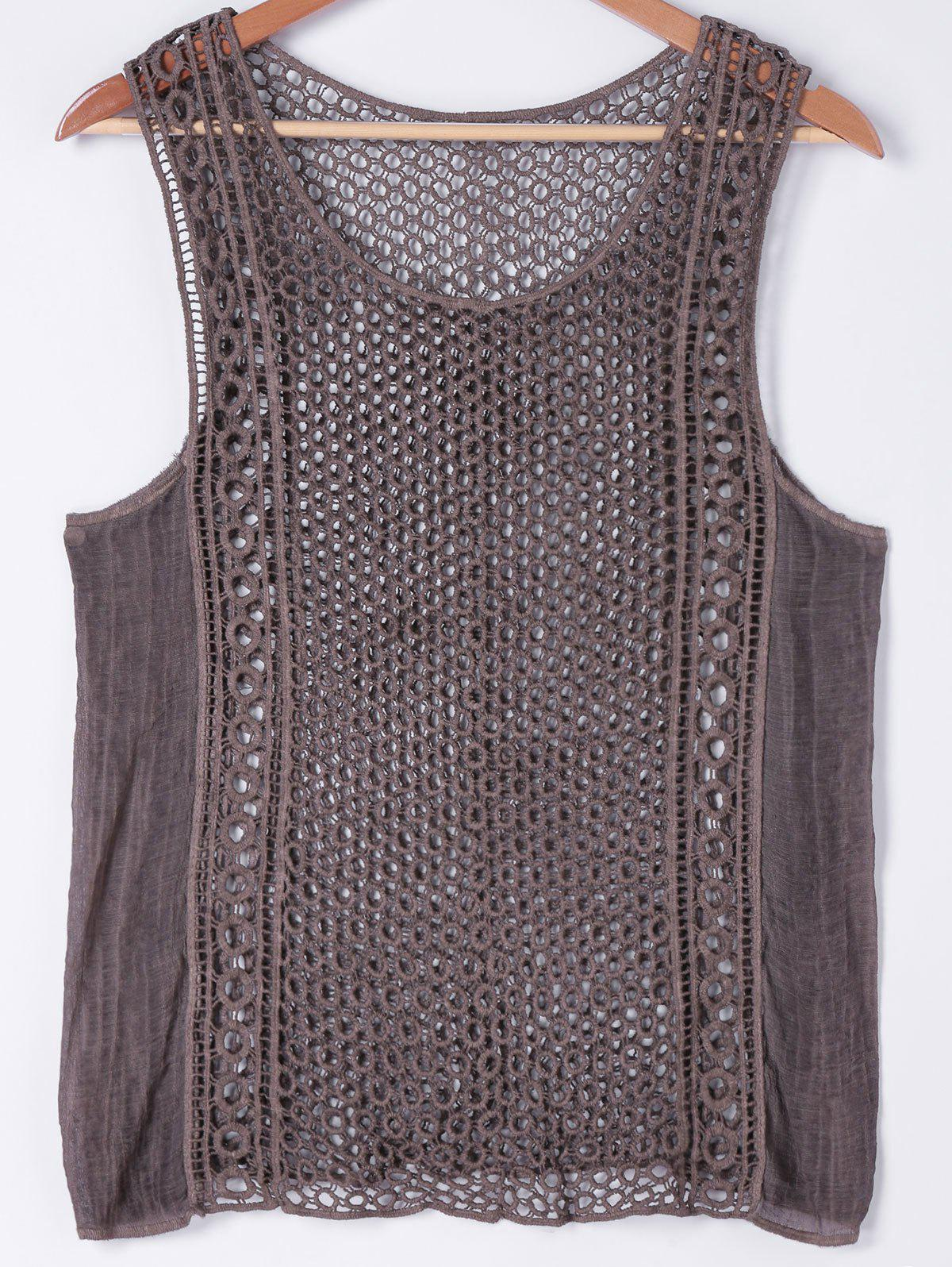 Stylish Women's Scoop Neck Crochet Panelled Tank Top - DEEP BROWN ONE SIZE(FIT SIZE XS TO M)